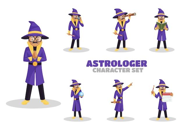 Illustrazione del set di caratteri astrologo