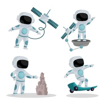 Illustrazione del set di caratteri astronauta