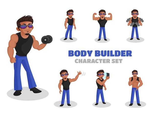 Illustrazione del set di caratteri body builder