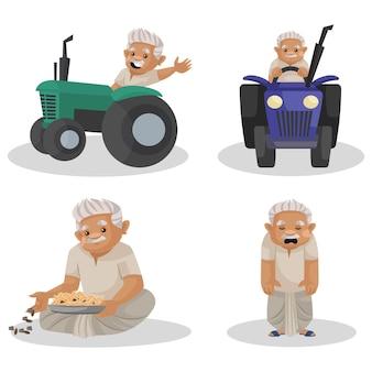 Illustrazione del set di caratteri contadino indiano