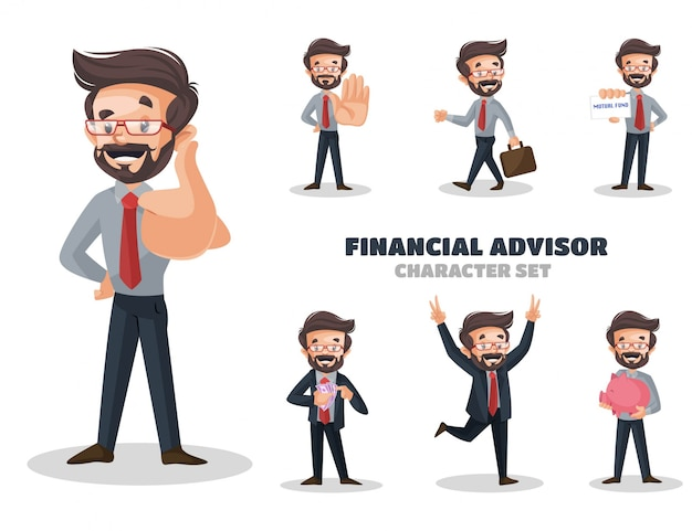 Illustrazione del set di caratteri del consulente finanziario