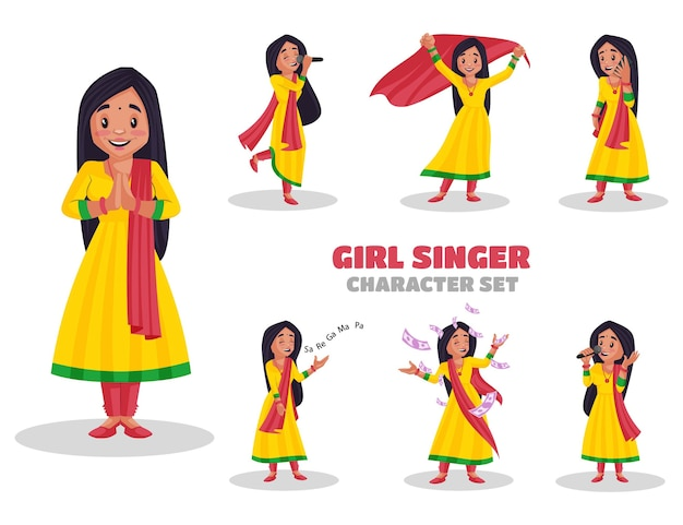 Illustrazione del set di caratteri ragazza cantante