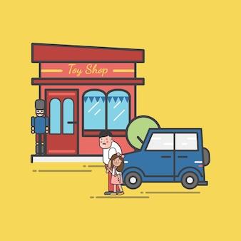 Illustrazione del set di negozio di giocattoli