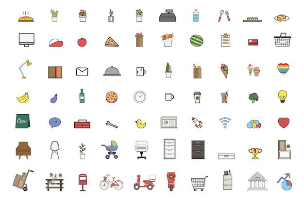 Illustrazione del set vettoriale di roba quotidiana