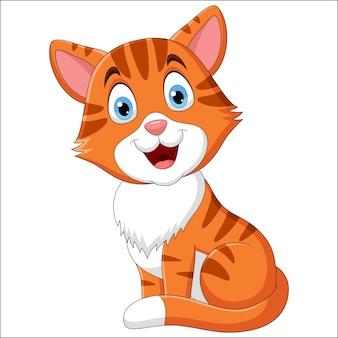 Illustrazione del simpatico gatto seduto su sfondo bianco