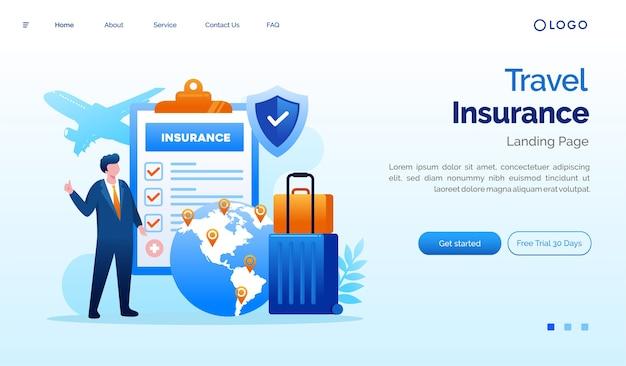 Illustrazione del sito web della pagina di destinazione dell'assicurazione di viaggio