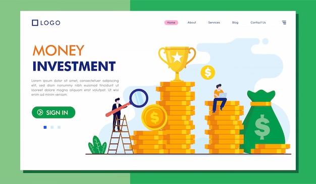 Illustrazione del sito web della pagina di destinazione di investimento del denaro