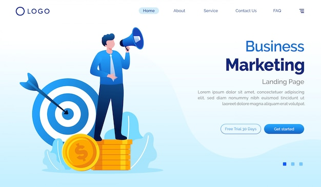 Illustrazione del sito web della pagina di destinazione di vendita di affari
