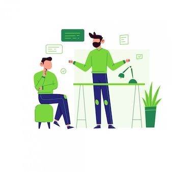 Illustrazione del socio commerciale per la pagina di destinazione