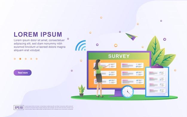 Illustrazione del sondaggio online e domande con l'elenco delle domande e le icone del computer.