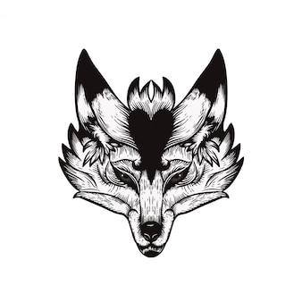 Illustrazione del tatuaggio dell'annata del lupo isolata su bianco
