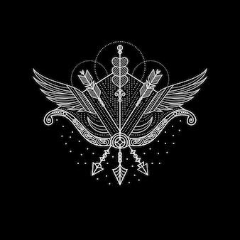 Illustrazione del tatuaggio dell'arciere dell'ala