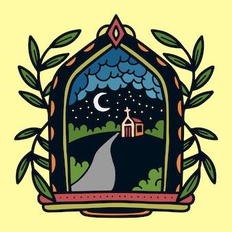 Illustrazione del tatuaggio della vecchia scuola della finestra di vista della chiesa