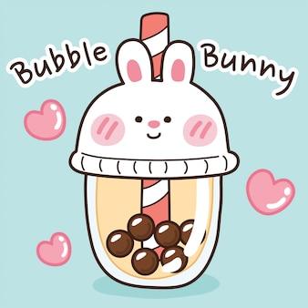 Illustrazione del tè al latte bolla in tazza di coniglio