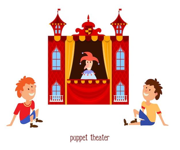 Illustrazione del teatro delle marionette per bambini con un pagliaccio e un bambino della bambola
