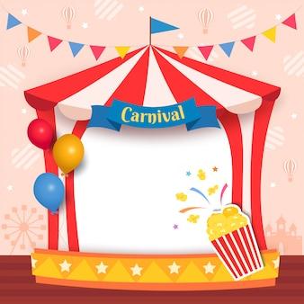 Illustrazione del telaio della tenda di carnevale con popcorn e palloncini per la festa