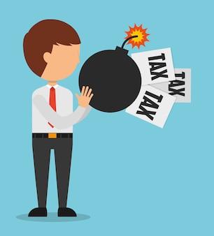 Illustrazione del tempo fiscale, uomo con documenti fiscali e bomba