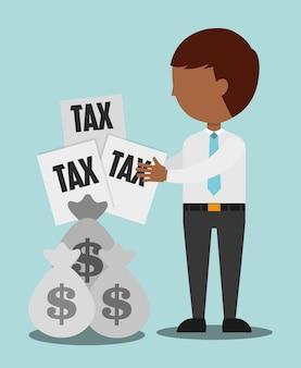 Illustrazione del tempo fiscale, uomo con documenti fiscali e sacchi di denaro