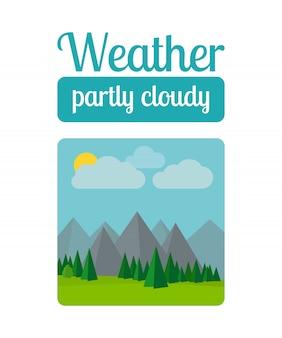Illustrazione del tempo parzialmente nuvoloso