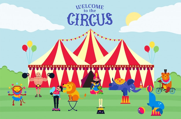 Illustrazione del tendone da circo ed esecutori. istruttori, atleti, animali selvatici scimmia, orso, elefante, lepre e leone, foca, serpente. manifesto dell'invito di spettacolo del circo.