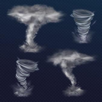 Illustrazione del tornado del tornado del vento o del vortice di ciclone realistico di uragano.