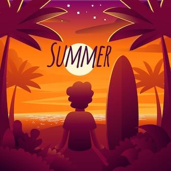 Illustrazione del tramonto su una bella vacanza estiva