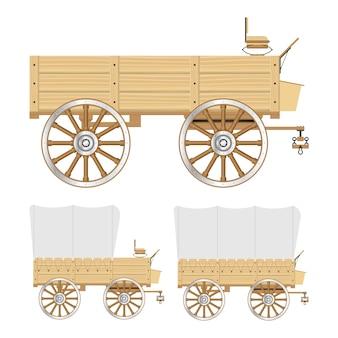 Illustrazione del vagone del selvaggio west isolata su fondo bianco