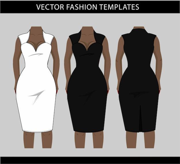 Illustrazione del vestito midi davanti e dietro, modello di schizzo piatto di moda