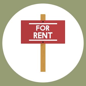 Illustrazione del vettore del segno di affitto del bene immobile