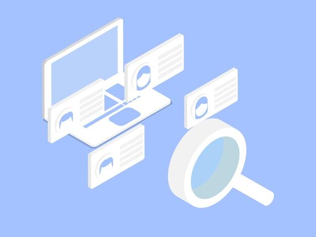 Illustrazione del vettore di gestione delle risorse umane isometrica