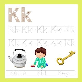 Illustrazione del vocabolario del fumetto az di esercizio k