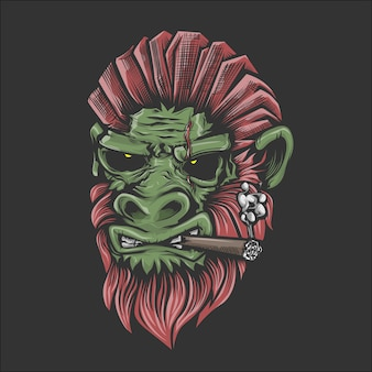 Illustrazione del volto di gorrillas di fumare