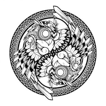 Illustrazione dell'ornamento di doodle del gufo yin yang e progettazione della maglietta