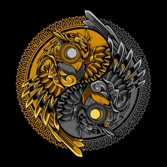 Illustrazione dell'ornamento di scarabocchio di Yin yang gufo e progettazione della maglietta
