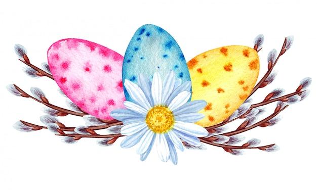 Illustrazione dell'acquerello buona primavera di pasqua. uova di pasqua dipinte, fiori, salice.