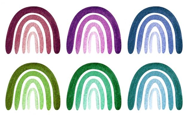 Illustrazione dell'acquerello con set di arcobaleni neutri calmi alla moda isolato su bianco.
