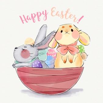Illustrazione dell'acquerello dei coniglietti di pasqua svegli