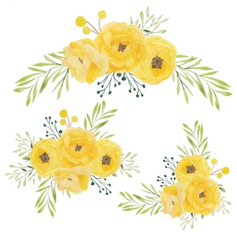 Illustrazione dell'acquerello del mazzo del fiore della rosa di giallo