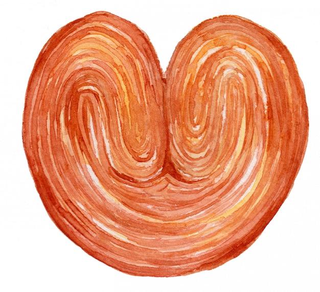 Illustrazione dell'acquerello del pane di palmier
