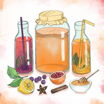 Illustrazione dell'acquerello del tè kombucha con la frutta