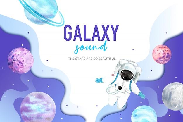 Illustrazione dell'acquerello dell'astronauta e del pianeta della galassia.