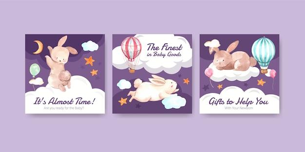 Illustrazione dell'acquerello della carta di progettazione dell'acquazzone di bambino