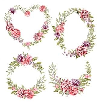 Illustrazione dell'acquerello della corona del fiore delle peonie