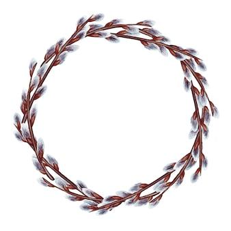 Illustrazione dell'acquerello della corona di pasqua con rami di salice di primavera