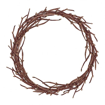 Illustrazione dell'acquerello della corona di primavera di pasqua con rami, isolato su sfondo bianco.