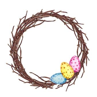 Illustrazione dell'acquerello della corona di primavera di pasqua con rami, uova di pasqua