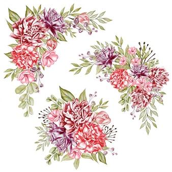 Illustrazione dell'acquerello delle peonie di disposizione floreale