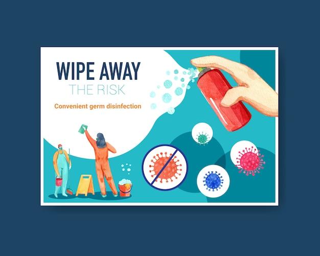 Illustrazione dell'acquerello di sicurezza coronavirus