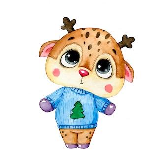 Illustrazione dell'acquerello di un cervo sveglio di natale del fumetto in un maglione blu di natale isolato.