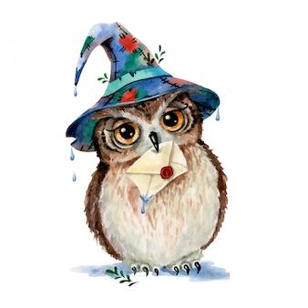 Illustrazione dell'acquerello di un gufo magico del fumetto sveglio in un cappello dello stregone con una lettera in suo becco isolato